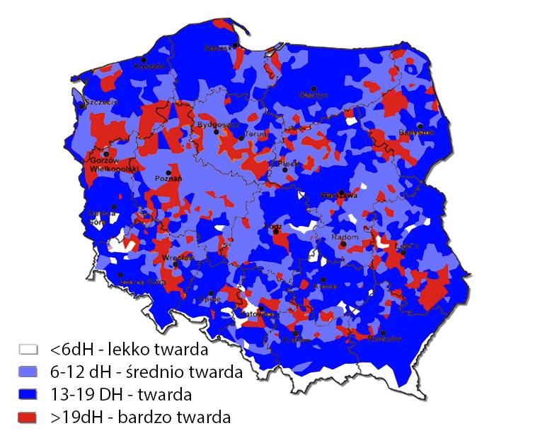 mapa twardości wody w Polsce